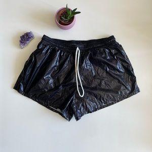 BNWT American Apparel Shiny Sun Short Black Foil